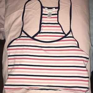 pink, white, and blue crop top